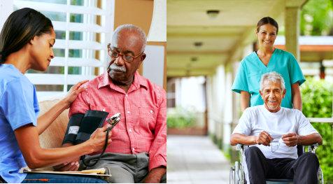 elderly man having his blood pressure checked - elderly man in wheelchair with his caregiver